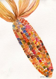 Indian Corn original watercolor veggies series by SharonFosterArt, $18.00 #Halloween #Fall #Thanksgivingdecorations