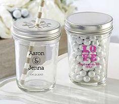 Personalized Printed Glass Mason Jar - Wedding (Set of 12)