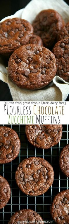 Flourless Chocolate Zucchini Muffins -- gluten-free grain-free oil-free dairy-free refined sugar-free but so soft and delicious that you'd never be able to tell! Gluten Free Muffins, Gluten Free Baking, Gluten Free Desserts, Dairy Free Recipes, Delicious Desserts, Yummy Food, Healthy Muffins, Vegetarian Recipes, Flour Recipes