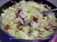 I make the most delicious bacon fried cabbage!  It makes an excellent side dish.  Here's how I do it.