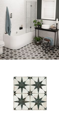 Creating the vintage look in our homes is a major design trend. This collection . Creating the vintage look in our homes is a major design trend. This collection of Antiquity Tiles allows you to inject a striking vintage, aged, anti. White Bathroom Tiles, Bathroom Floor Tiles, Modern Bathroom, Small Bathroom, Black And White Bathroom Floor, Black Bathrooms, Bathroom Storage, Bathroom Mirrors, Floor Tiles Hallway