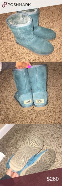 Uggs Limited edition turquoise Limited edition color! Sold out! Such a beautiful turquoise! Matches a lot! Was worn maybe 6 times but overall it's in amazing condition, as shown in pictures! First pic is true to color, the rest are taken with flash UGG Shoes Winter & Rain Boots