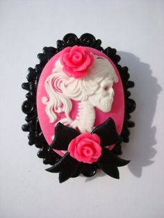 Brooch pin up cherry punk skull skeleton caméo cab cabochon psychobilly rockabilly goth gothique diy tattoo custom rose. $20.00, via Etsy.