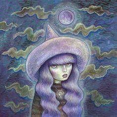 Hexe Mond-Magie  original Gemälde von Brettisagirl auf Etsy