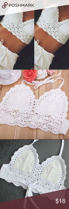 White Boho Crochet Crop Top/Bralette Brand new white crochet crop top! Perfect for summer, festivals, the beach, etc. One size fits most! Adjustable ties. Halter style. Unpadded but has lining where lining is needed. Very cute and fresh for summer! ☀️  ❣️Price firm unless bundled ❣️No trades ❣️Same or next day shipping ❣️Please ask any questions before purchasing! Tops Crop Tops