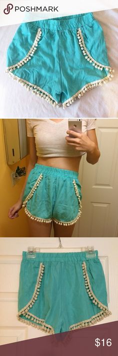 Limit 33 Shorts Super cute new without tag shop limit 33 pom Pom shorts size small and true to size. Very comfy and flowy, color is sea foam Shorts