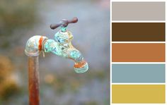 Color scheme - gray, brown, rust, teal, & mustard (this is pretty close to what I am going for. Grey Palette, Paint Color Palettes, Blue Colour Palette, Paint Colors, Gray Color, Yellow Accents, Grey Yellow, Brown And Grey, Teal