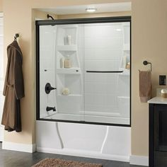 Delta Simplicity 60 in. x 58-1/8 in. Semi-Framed Sliding Tub Door in Bronze with Droplet Glass