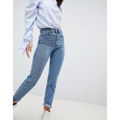 Lost Ink Slim Mom Jeans In Lightwash Denim ($59) ❤ liked on Polyvore featuring jeans, blue, denim jeans, slim fit denim jeans, blue slim fit jeans, slim blue jeans and 80s jeans