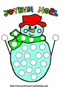 À imprimer en x2 Bonhomme de neige en couleur pour gommettes