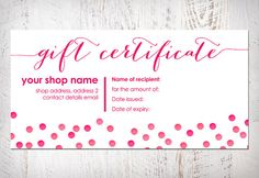 Free printable gift voucher template instant download no gift certificate bow card printable item by dulcegracedesigns 800 negle Image collections