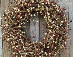 Pip Berry Wreath, Slate Grey Reds Plum Cream and Mustard Berry Wreath, Primitive Wreath, Primitive Colors wreath, Berry Wreath, Wreath