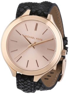 Watches women Gold watches 4 women Michael Kors MK2322 Ladies Rose Gold and Black Slim Runway Watch