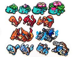 Pokemon Perler Generation 1 Starters and Mega by ShowMeYourBits, $2.00
