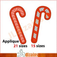 Candy cane applique design. Machine embroidery design -INSTANT DOWNLOAD- 15 sizes. Candy cane embroidery design. Candy cane applique. BX by JLdizains on Etsy