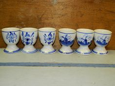 Vintage Blue & White Delft Egg Cups 6 Hand by TheIDconnection, $65.00