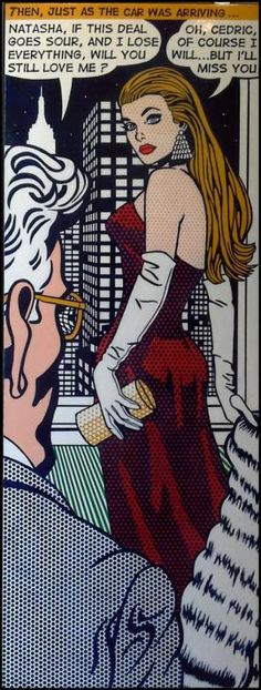 Malcolm Smith pop art will you still love me? Lady in a red dress. Younger lady lover