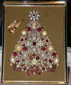 Gorgeous Red & Pearl Framed Vintage Jewelry Art Christmas Tree with Trumpeting Angel