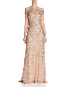 Adrianna Papell Off-The-Shoulder Beaded Gown rose gold bridesmaid dress sequin bridesmaids dresses Gold Sequin Gown, Pink Sequin Dress, Gold Sequins, Pink Evening Gowns, Rose Gold Evening Gown, Cold Shoulder Gown, Vogue, Beaded Gown, Gowns Online