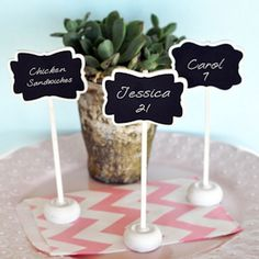Framed Chalkboard Place Card Stands (Event Blossom EB2374) | Buy at Wedding Favors Unlimited (http://www.weddingfavorsunlimited.com/framed_chalkboard_place_card_stands.html).