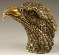 Vintage Handmade Exquisite Vivid Eagle Head Copper Statue