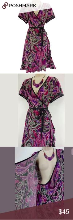 """2X 20 22▪️SEXY PAISLEY FAUX-WRAP DRESS Plus Size Size: 2X Slip on/off Eye-catching paisley print in shades of purple, black, & ivory Stretchy, comfortable fabric Faux-Wrap style attaches on the inside right, wraps around the waist, & ties at the outside left of the waist Measurements:    Bust (armpit to armpit): 50"""" relaxed - stretches to 62"""" Waist: 46"""" relaxed - stretches to 60"""" Hips: 58"""" relaxed Length: 42"""" (top of shoulder to bottom hem)  Condition: PRISTINE CONDITION! Fabric Content: 96%…"""