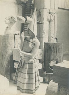"""Constantin Brancusi (Romania 1876 - France costume designed for Eric Satie's ballet """"Gymnopedies,"""" Modeled by Lizica Codreanu (b. a Romanian dancer and member of Diaghilev's Ballets Russes, in Brancusi's studio. Brancusi Sculpture, Constantin Brancusi, Modern Sculpture, Studio Portraits, Art Studios, Artist At Work, Great Artists, Online Art, Les Oeuvres"""