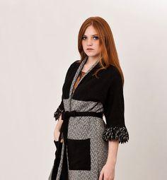 Black tweed coat wool overcoat Mid Century Modern A by texturable, $170.00