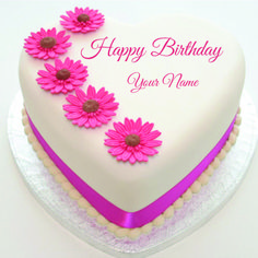 Happy birthday cake images and pictures happy birthday wishes happy birthday pink flower cake with name bookmarktalkfo Choice Image