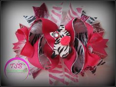 Pink Zebra OTT Hair Bow ready to ship by TracysSassyBowtique, $9.00