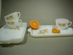 Set of 3 Snack Plate with Mugs Fire King Anchor by CircaCompany, $22.75