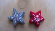 Ricamare un fiocco di neve sulla stella amigurumi Left Handed Crochet, Dou Dou, Christmas Ornaments, Stars, Holiday Decor, Handmade, Tutorial, Youtube, Anna