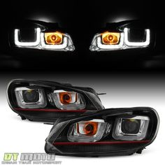 2010-2014 VW Golf/GTI Black w/Red Stripe Projector Headlights+LED DRL Tube Lamps