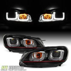 2010-2014 VW Golf/GTI Black w/Red Stripe Projector Headlights+LED DRL Tube Lamps