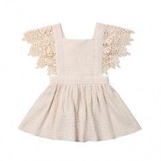 Toddler Baby Girl Infant Comfy Cotton Linen Lace Princess Overall Dress Sundress Pinny Dress, Gauze Dress, Skater Dress, Baby Girl Party Dresses, Girls Dresses, Flower Girl Dresses, Beach Dresses, Dance Dresses, Baby Dress