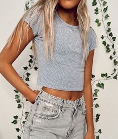 IVY & MAIN Ditsy Surplice Womens Light Blue Crop Top - LTBLU - 370650221 Boutique | fashion | style | trends | summer | spring | NYFW | stylist | design | OOTD | outfit | clothing | model | trendy | upscale | outfit of the day | name brand | cozy | elegant | luxurious | luxury | accessories | swim | seasonal | online shopping | summer fashion | womens fashion | outfit ideas | summer outfits | fashion trends 2020 | short outfits | crop top Casual School Outfits, Teenage Outfits, Cute Teen Outfits, Cute Comfy Outfits, Teen Fashion Outfits, Short Outfits, Cute Outfits For Summer, Cute Teen Clothes, Crop Top Outfits