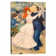 Print of Renoir's Dance at Bougival on canvas.  Product: Canvas printConstruction Material: Cotton canvas and woodFeatures: Original art by Auguste Renoir