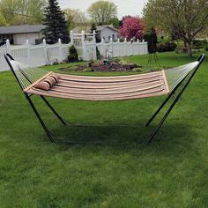 Freeport Park Brielle Quilted Double Fabric Hammock with Stand Color: Sandy Beach Hanging Hammock Chair, Outdoor Hammock, Hammock Stand, Swinging Chair, Outdoor Decor, Hammocks, Camping Hammock, Free Standing Hammock, Double Hammock With Stand