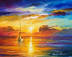 Lonely Sea 2 ORIGINAL Modern Seascape Wall by AfremovArtStudio