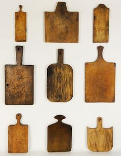 bread boards...love all the shapes...wall hangings above buffet in dining room, perfect!