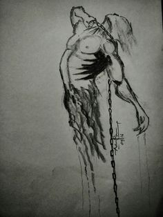 Its difficult to get out of it!!  Illustration sketch, locked down, fading away, sketches, pencil drawing, artwork