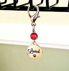 """Red Jasper Dog Collar Charm, Pet Charm, Dog Collar Pendant saying """"loved"""", Bling, Gemstone Dog Jewelry, Pet Accessories, Pet Lover Gift by RBeadDesigns"""