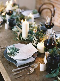 Another inspiration for greenery runner. Maybe we do clear mason jar with white candles inside | Wedding reception tables | Wedding tablescape