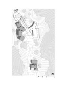 """The Oak Pass Main House uses an """"upside down"""" program, with public spaces above the bedrooms, which are buried into the hill and beneath a green roof of edib. Plans Architecture, Architecture Collage, Architecture Models, Minimal Drawings, Space Drawings, Site Plan Drawing, Upside Down House, Location Plan, Beverly Hills Houses"""
