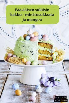 Minttusuklaalta ja mangolta maistuva pääsiäiskakku on täydellinen valinta juhlapöytään. Näyttävä kakku koristellaan pastellisilla suklaamunilla. #meilläkotona #meilläkotonafi #pääsiäinen #pääsiäisleivonta #pääsiäisleivonnaiset #pääsiäiskakku #täytekakku Mango, Breakfast, Food, Chef Recipes, Cooking, Manga, Morning Coffee, Essen, Meals