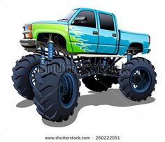 Cartoon Monster Truck EPS-10 with transparency effects for one-click repaint