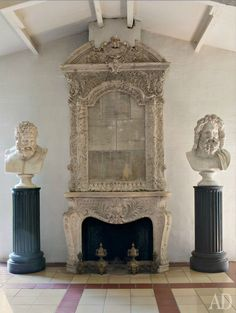 This Greco-Roman inspired fireplace is gorgeous. The detail in the carvings on the mantel and the statues are so intricate. This fireplace would make a great focal point.