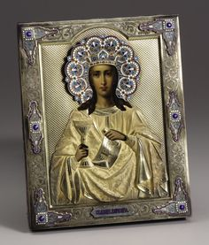 A Russian Silver Gilt and Enamel Icon. Unknown maker, Moscow,Russia. 1896-1908. Silver gilt, enamel, oil on board.