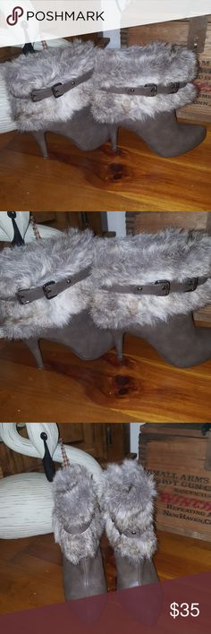 Booties with faux fur Taupe booties, faux fur with buckled strap. Excellent condition. Fabulous look. Bakers Shoes Ankle Boots & Booties