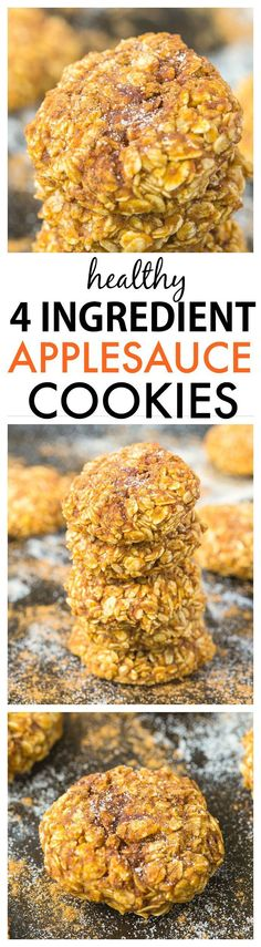 Healthy Four Ingredient Applesauce Cookies- Soft and chewy cookies which need just 4 ingredients- A delicious snack recipe which takes minutes! {#glutenfree, #vegan, refined sugar-free}
